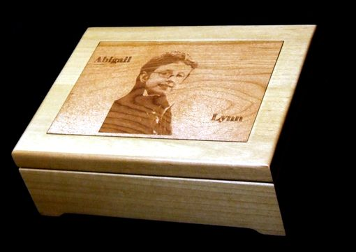 Custom Made Custom Laser Engraved Wood Jewelry Box With Wood Inlay
