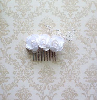 Custom Made Victorian-Inspired Flower Girl Hair Comb With White Roses
