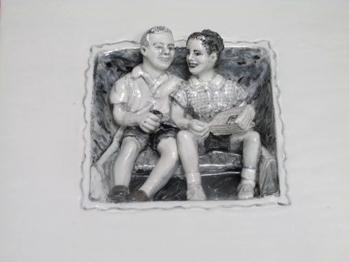 Custom Made Sculpted Couple Portrait In Black & White