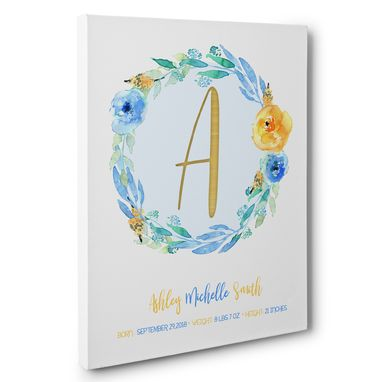 Custom Made Floral Wreath Birth Stats Canvas Wall Art