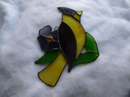Custom Made Purple And Yellow Stained Glass  Lakers Bird