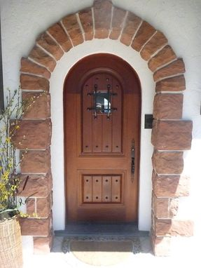 Custom Made Mahogany Entry Door With Speakeasy