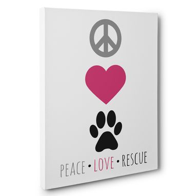 Custom Made Peace Love Rescue Canvas Wall Art