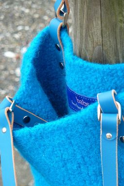 Custom Made Fabulous Turqouise Felted Wool Slim Tote Bag With Matching Leather Handles