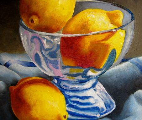 Custom Made Lemons In Blue Oil Painting