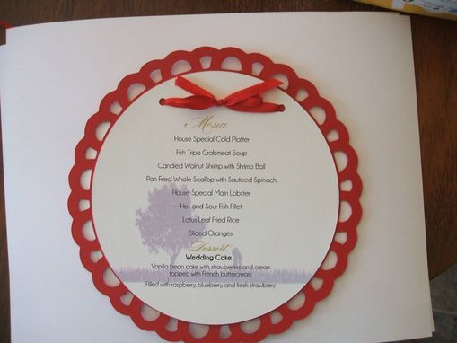 Custom Made 6 Inch Round Single Layer Menu Customizable To Your Color Pallette, Your Accents