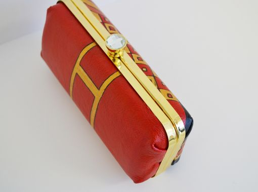 Custom Made Gold Clotch - Hand Painted Clotch- Leather Clutch - Girl Bag- Fancy Clotch- Red Small Clotch