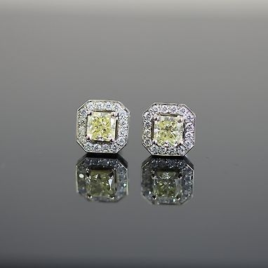 Custom Made Fancy Yellow Radiant-Cut Diamond Stud Earrings