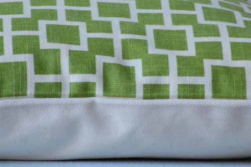 Custom Made Geometric Green And White Pillow 16 X 16