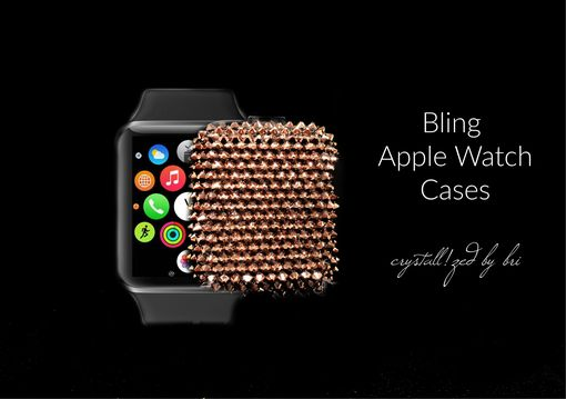 Custom Made Crystallized Apple Watch Cover Tech Bling Made With Swarovski Crystals Bedazzled Rose Gold