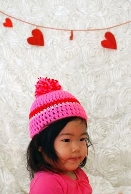 Custom Made Valentine's Pink Red And White Beanie