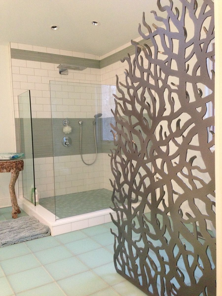 Metal Privacy Screen hand crafted bathroom custom metal privacy screen and mirror