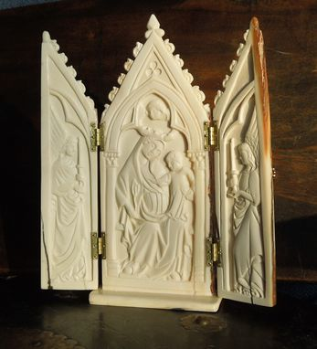 Custom Made Triptych Of Virgin Mary And Baby Jesus, Medieval Style