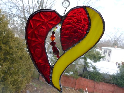 Custom Made Red And Yellow Stained Glass Heart With Beads And Crystals