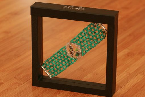 Custom Made Hand Woven Art Deco Enamel Bird Bracelet With Turquoise Beads