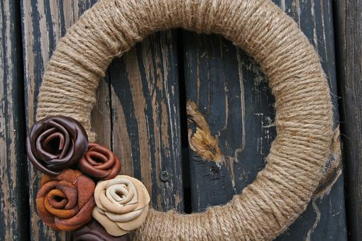 Custom Made Leather And Jute Wreath