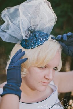 Custom Made Raquel - Beaded Blue Brocade Fascinator With Tulle Handmade From Vintage Materials