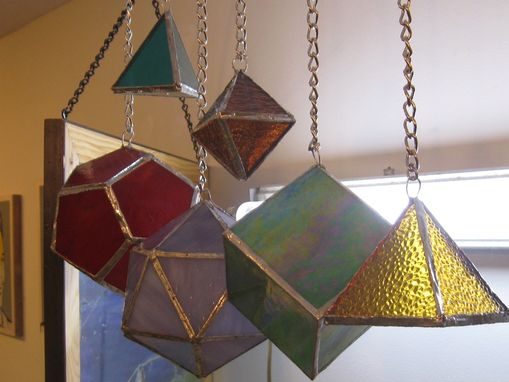 Custom Made 3-D Stained Glass Hanging Platonic Solids