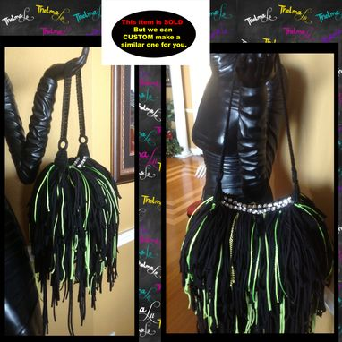 Custom Made Funky Fringed Handbag,Chains,Upcycled,Rhinestones,Bling,Jewels,Green & Black Hippie,Boho,Funky,Purse