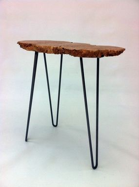 Custom Made Mid Century Modern Style Natural Live Edge Side Table/ Solid Lace Maple Burl Tea Table – Slab Tbd
