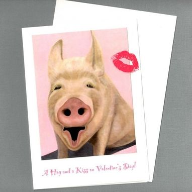 Custom Made Funny Valentine Card - A Hog And A Kiss Pig Valentine Card - Animal Valentine Card
