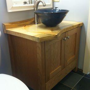 Cherry Bathroom Vanity With Live Edge Pine Counter By Ben Raphael