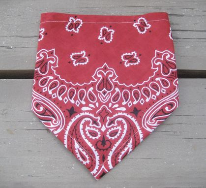 Custom Made Classic Bandana Bib For Baby In Red Bandana Print