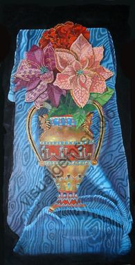 Custom Made Still Life Floral Painting: Original, Acrylic On Canvas, Decorative Flowers In An Egyptian Urn