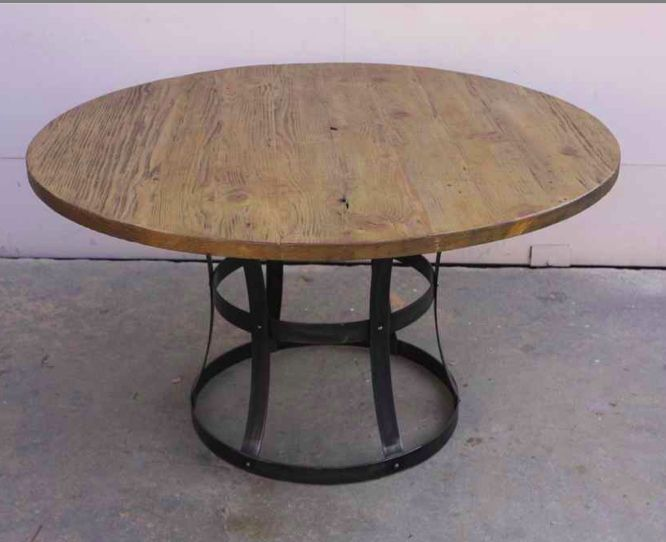 Handmade Custom Metal And Reclaimed Wood Dining Table By