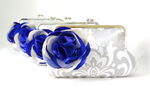 Custom Made Gray Damask Clutch Purse With Blue Flower Adornment