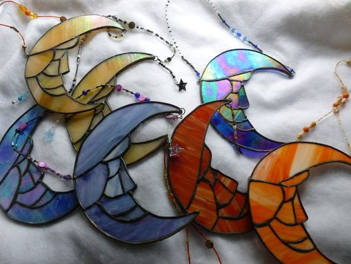 Custom Made Stained Glass Man On The Moon With Crystal Star And Swarovski Beads