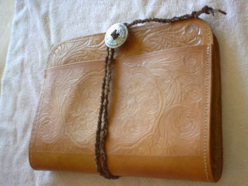 Custom Made Custom Leather Portfolio With Full Sheridan Design And Tie Closure