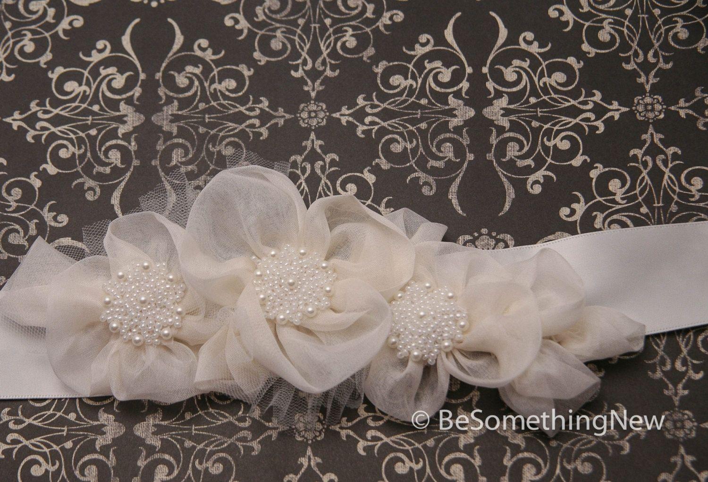 Wedding accessories pearls flowers pearls - Custom Made Wedding Dress Sash Silk Organza Flowers And Pearls Wedding Dress Sash Belt