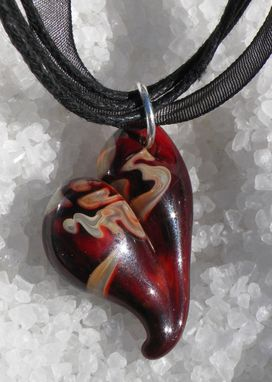 Custom Made Red And Caramel Glass Heart Necklace