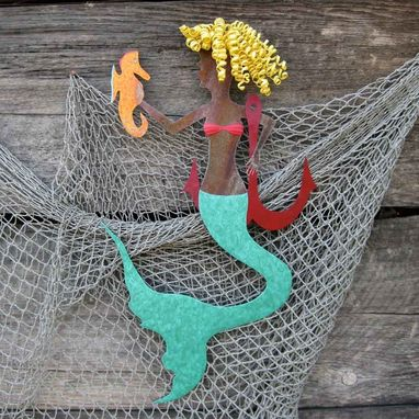 "Custom Made Handmade Upcycled Metal Mermaid With Seahorse Wall Art Sculpture ""Roxanne''"
