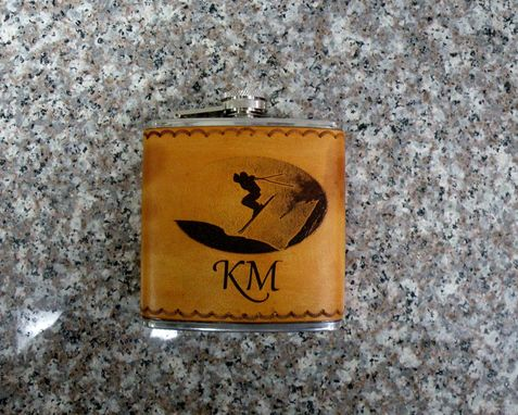 Custom Made Leather Wrapped And Engraved Hip Flask