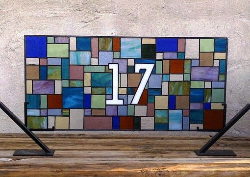 "Custom Made Stained Glass Window Panel / Transom Window /"" Patchwork Quilt 3"" (Am-30)"