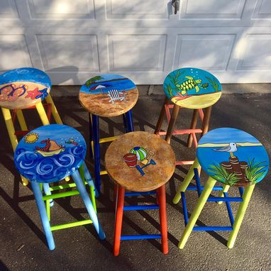 Custom Made Whimsical Painted Painted Bar Stool, Nautical Painted Barstool,  Beach Themed Furniture