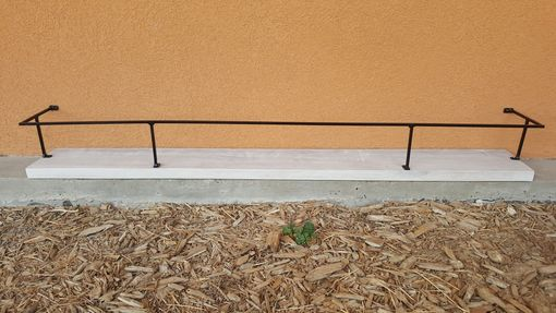 Custom Made Country Style Floating Shelf With Metal Rail