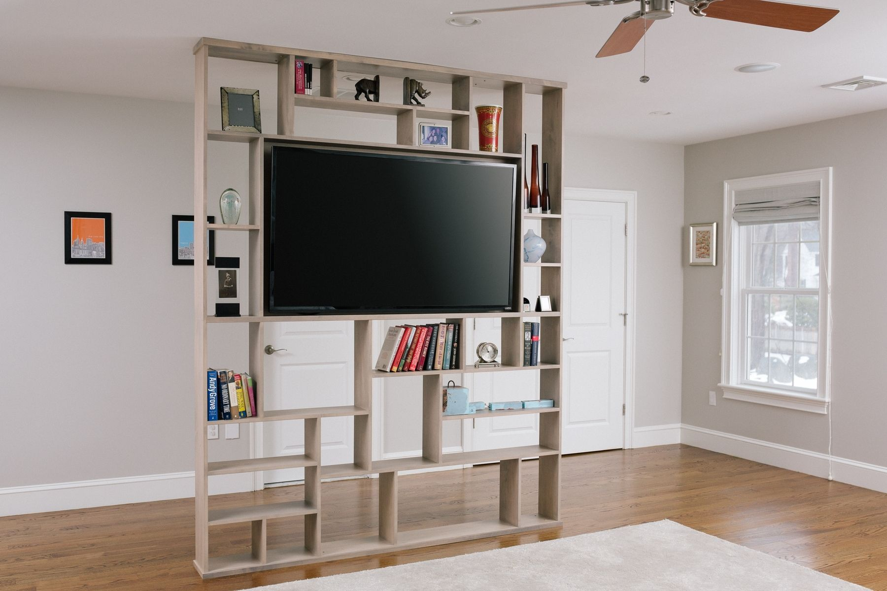 Custom Made Lexington Room Divider Bookshelf Tv Stand