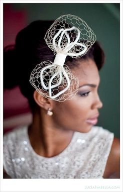 Custom Made Modern Wedding Head Piece, Bridal Bow On A Comb With A Vintage Flair
