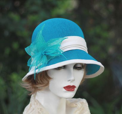 Custom Made 1920'S Cloche Summer Hat In Teal Blue