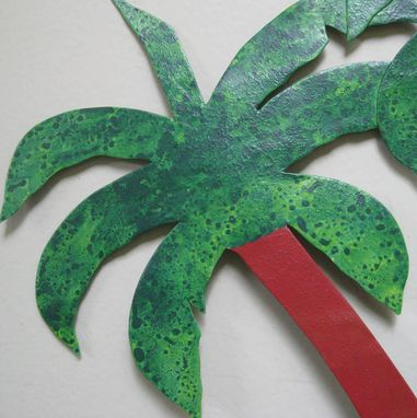 Custom Made Handmade Upcycled Metal Palm Trio Wall Art Decor