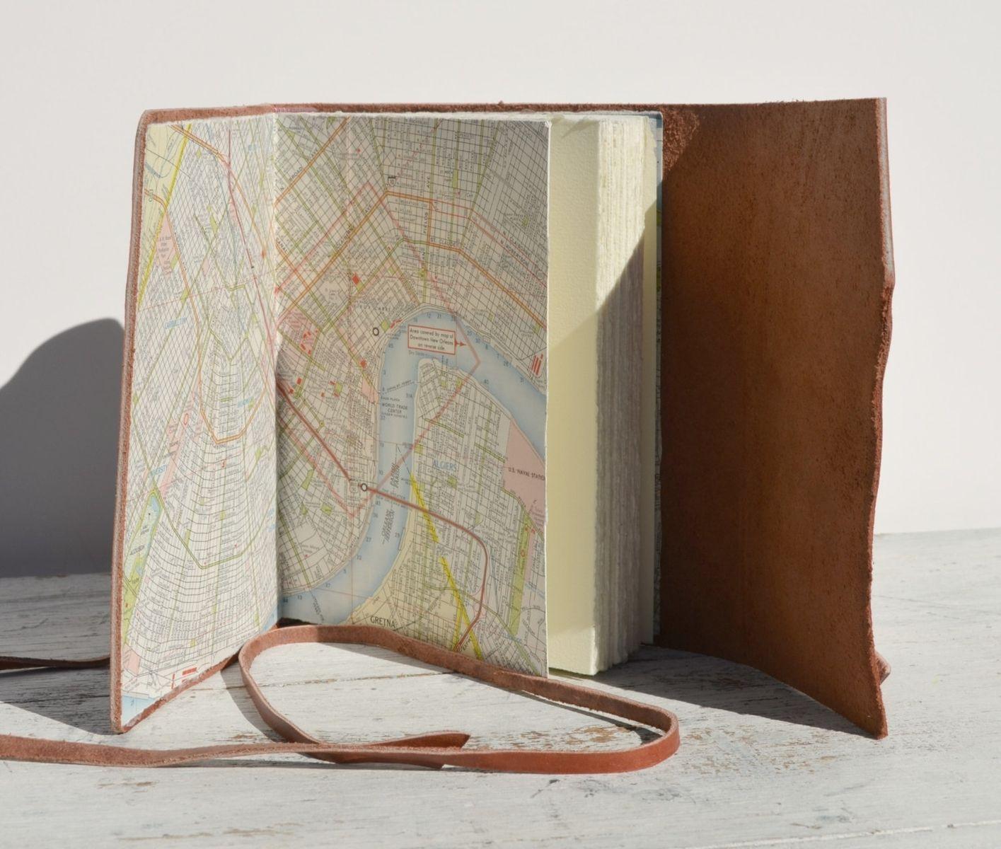 Custom Leather Bound Handmade Travel Journal With Vintage