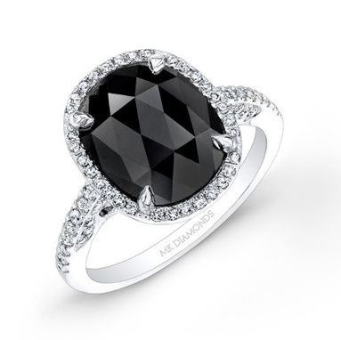 Custom Made 2 3/4ct Oval Black Diamond Engagement Ring