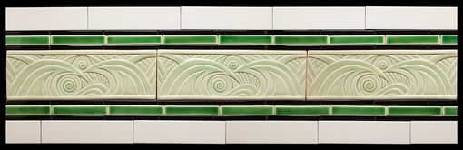 Custom Made Handcarved Art Nouveau Porcelain Wave Border Tile