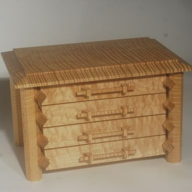 Custom Made Pagoda Style Jewelry Box In Quilted And Curly Maple