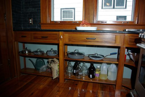 Custom Made Gumwood Kitchen Shelf Unit With Drawers.