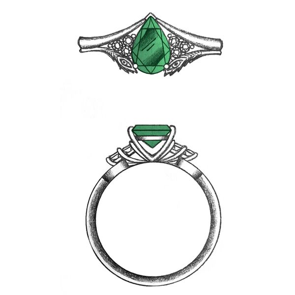 Design sketch for a peacock feather engagement ring with an emerald center stone.