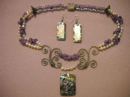 Custom Made Hand Blown Glass And Pearl Necklace